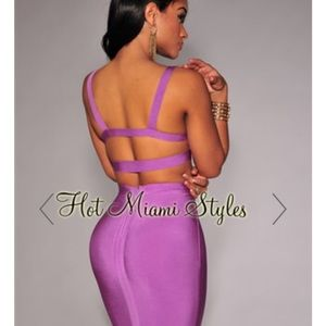 Lavender Bandage Midi Two Piece